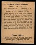 1940 Play Ball #51  Don Heffner  Back Thumbnail
