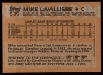 1988 Topps #539  Mike LaValliere  Back Thumbnail