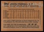 1988 Topps #533  John Farrell  Back Thumbnail