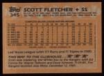 1988 Topps #345  Scott Fletcher  Back Thumbnail