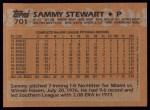 1988 Topps #701  Sammy Stewart  Back Thumbnail