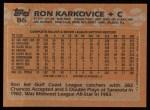 1988 Topps #86  Ron Karkovice  Back Thumbnail
