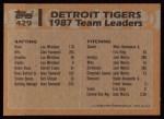 1988 Topps #429   -  Alan Trammell / Kurt Gibson Tigers Leaders Back Thumbnail
