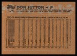 1988 Topps #575  Don Sutton  Back Thumbnail