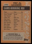 1988 Topps #390   -  George Bell All-Star Back Thumbnail
