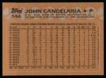 1988 Topps #546  John Candelaria  Back Thumbnail