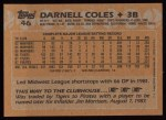 1988 Topps #46  Darnell Coles  Back Thumbnail