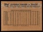 1988 Topps #128  Johnny Grubb  Back Thumbnail