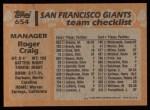 1988 Topps #654  Roger Craig  Back Thumbnail