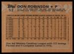 1988 Topps #52  Don Robinson  Back Thumbnail