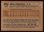 1988 Topps #149  Ken Howell  Back Thumbnail