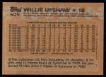 1988 Topps #505  Willie Upshaw  Back Thumbnail