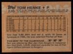 1988 Topps #220  Tom Henke  Back Thumbnail