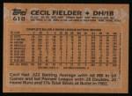 1988 Topps #618  Cecil Fielder  Back Thumbnail