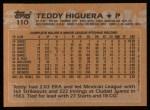 1988 Topps #110  Teddy Higuera  Back Thumbnail