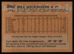 1988 Topps #376  Bill Wilkinson  Back Thumbnail