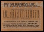 1988 Topps #514  Pat Sheridan  Back Thumbnail