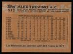 1988 Topps #512  Alex Trevino  Back Thumbnail