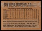 1988 Topps #692  Mike Birkbeck  Back Thumbnail