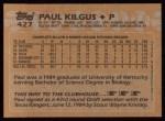 1988 Topps #427  Paul Kilgus  Back Thumbnail