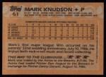 1988 Topps #61  Mark Knudson  Back Thumbnail