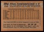 1988 Topps #266  Paul Assenmacher  Back Thumbnail