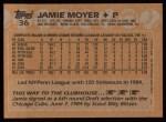 1988 Topps #36  Jamie Moyer  Back Thumbnail