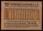 1988 Topps #780  Fernando Valenzuela  Back Thumbnail