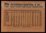 1988 Topps #726  Alfredo Griffin  Back Thumbnail