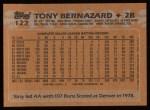 1988 Topps #122  Tony Bernazard  Back Thumbnail