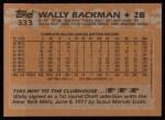 1988 Topps #333  Wally Backman  Back Thumbnail
