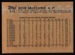 1988 Topps #313  Bob McClure  Back Thumbnail