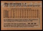 1988 Topps #258  Ed Nunez  Back Thumbnail