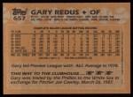 1988 Topps #657  Gary Redus  Back Thumbnail