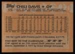 1988 Topps #15  Chili Davis  Back Thumbnail