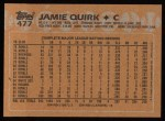 1988 Topps #477  Jamie Quirk  Back Thumbnail