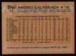 1988 Topps #25  Andres Galarraga  Back Thumbnail