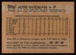 1988 Topps #563  Jose Guzman  Back Thumbnail