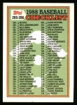 1988 Topps #373   Checklist 265 - 396 Front Thumbnail
