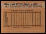 1988 Topps #217  Harry Spilman  Back Thumbnail