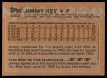 1988 Topps #682  Jimmy Key  Back Thumbnail