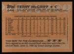 1988 Topps #644  Terry McGriff  Back Thumbnail