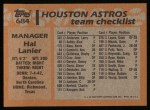 1988 Topps #684  Hal Lanier  Back Thumbnail