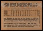 1988 Topps #540  Bret Saberhagen  Back Thumbnail