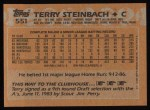 1988 Topps #551  Terry Steinbach  Back Thumbnail