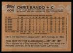 1988 Topps #604  Chris Bando  Back Thumbnail