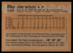 1988 Topps #688  Jim Winn  Back Thumbnail