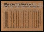 1988 Topps #543  Kent Tekulve  Back Thumbnail