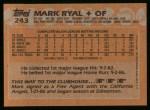 1988 Topps #243  Mark Ryal  Back Thumbnail