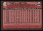 1989 Topps #110  Paul Molitor  Back Thumbnail